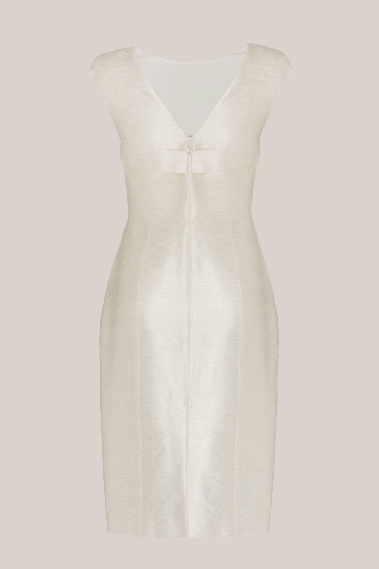 Short Bridal Silk Dress Faye Metallic Creme