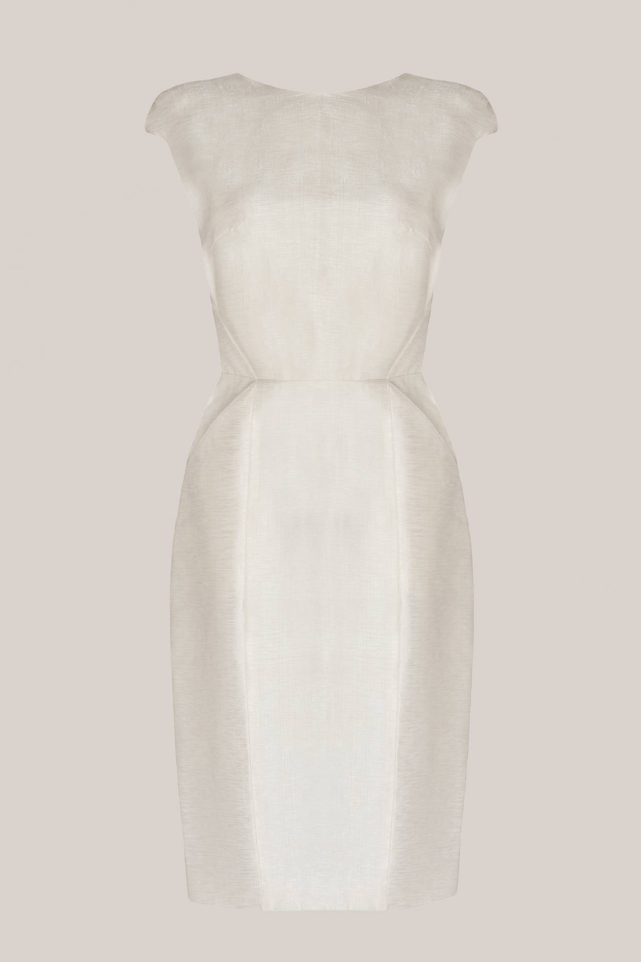 Short Bridal Silk Dress Faye Metallic Creme Front
