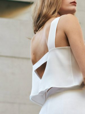 Bridal Silk Top Gloria with V-Back by Designer Magdalena Mayrock Berlin