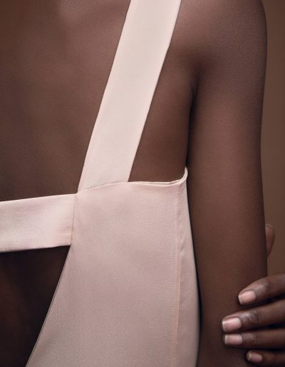 Back Detail Silk Gown Gloria in Blush by Magdalena Mayrock Berlin