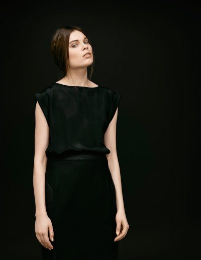 Elegant Designer Silk Top and Structured Wool and Silk Skirt