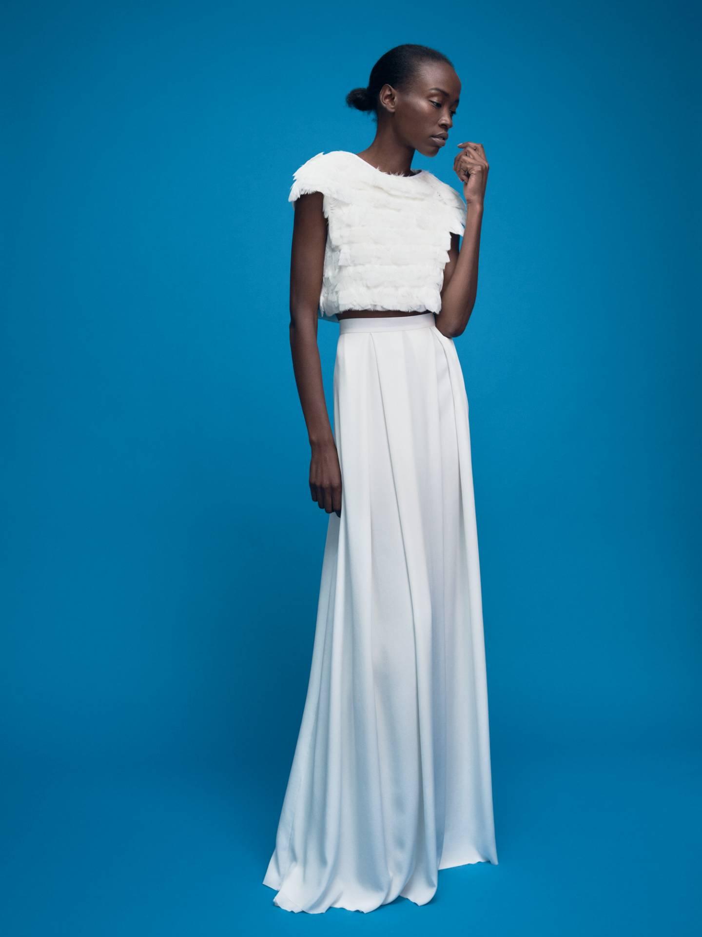 Bridal Feather Top Faye and Silk Skirt Grace by Magdalena Mayrock Berlin