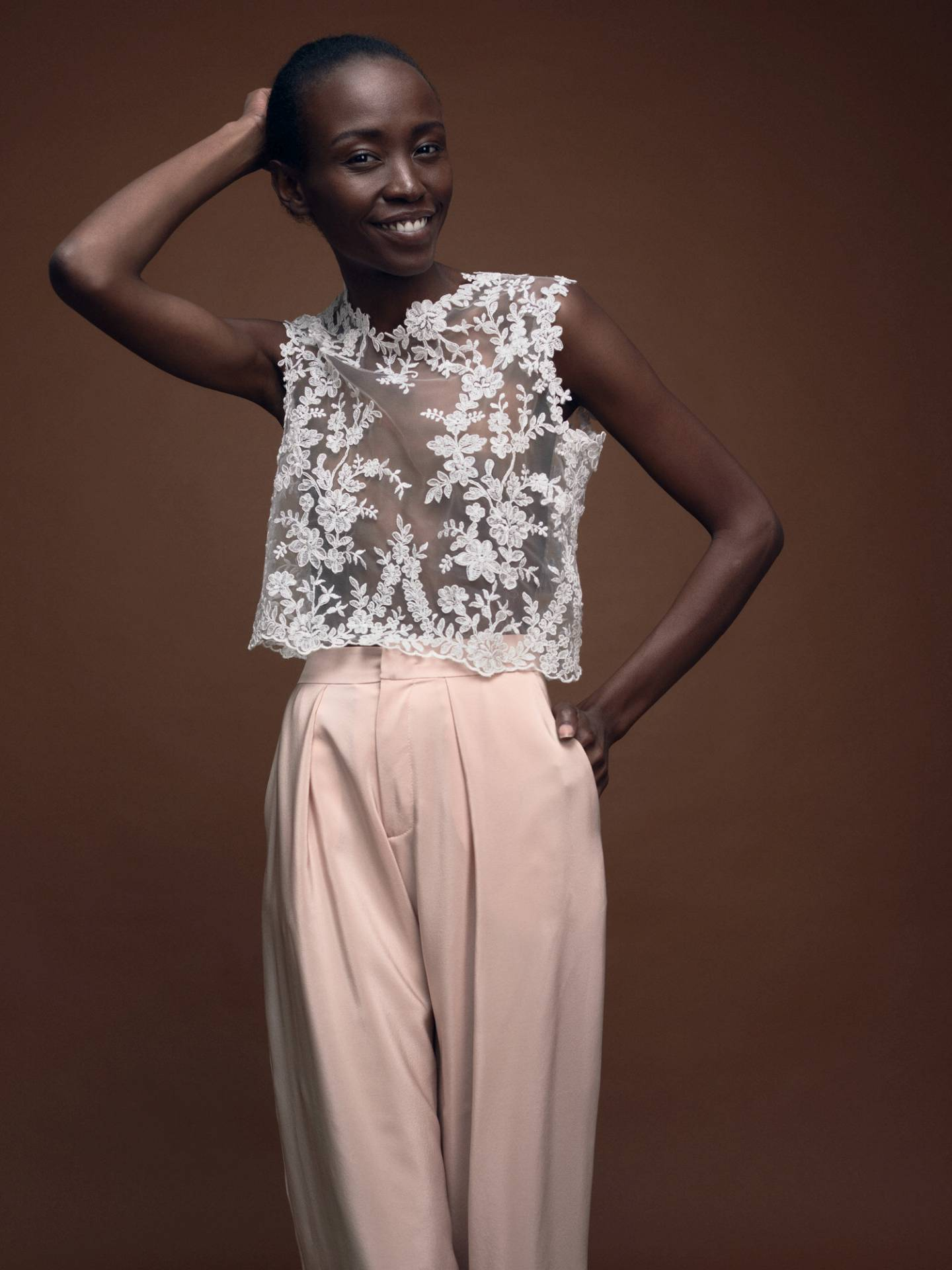 Bridal Lace Top Blossom and Silk Culotte Lene in Blush by Magdalena Mayrock Berlin.