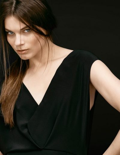 Silk Gown Grace in Black Top Detail