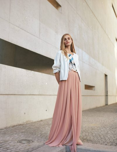 White Designer Leather Jacket and Plissée Skirt in Blush by Magdalena Mayrock Berlin