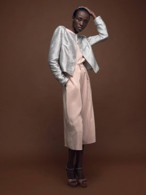 Wedding Guest Outfit Metallic Silver Silk Jacket Tilda and Silk Culotte in Blush by Magdalena Mayrock