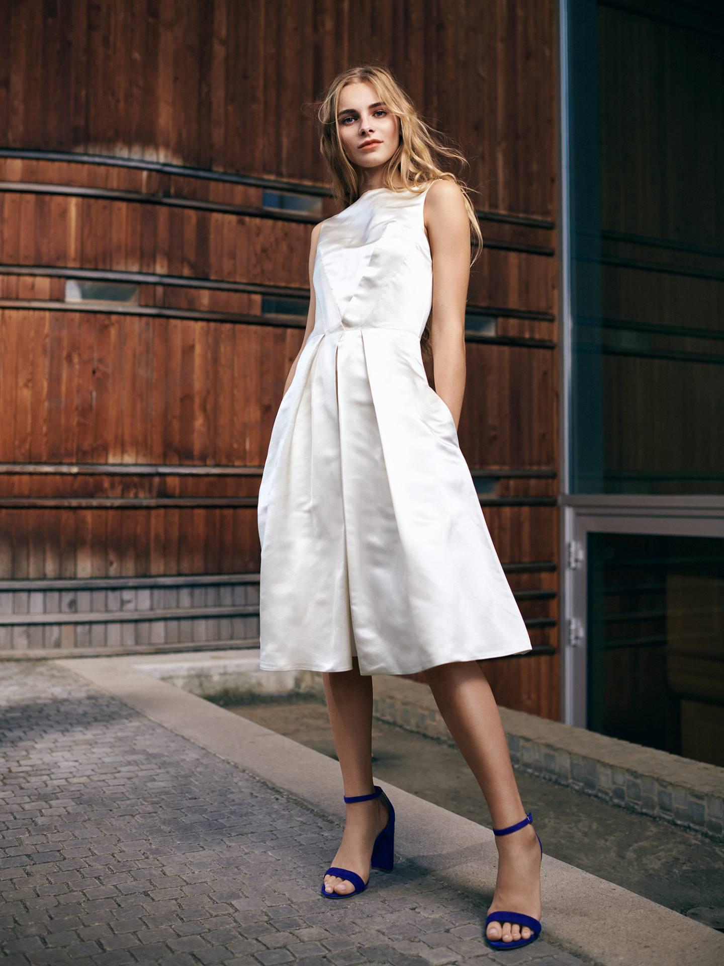 Short Silk Satin Bridal Dress by Magdalena Mayrock Berlin