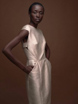 Elegant Metallic Shift Dress Magdalena Mayrock Berlin