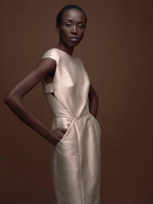 Elegant Metallic Shift Dress Magdalena Mayrock Berlin
