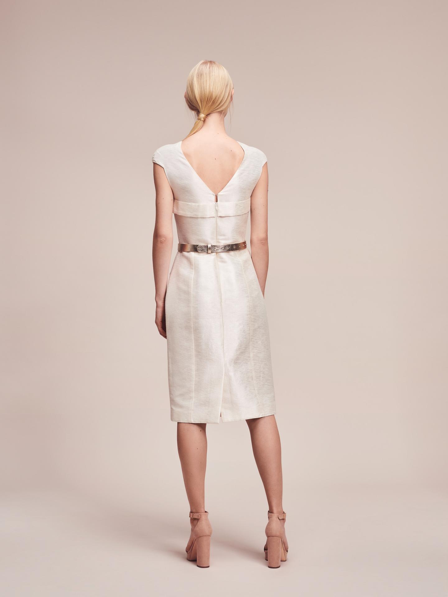 Short Silk Bridal Dress in Champagne by Magdalena Mayrock
