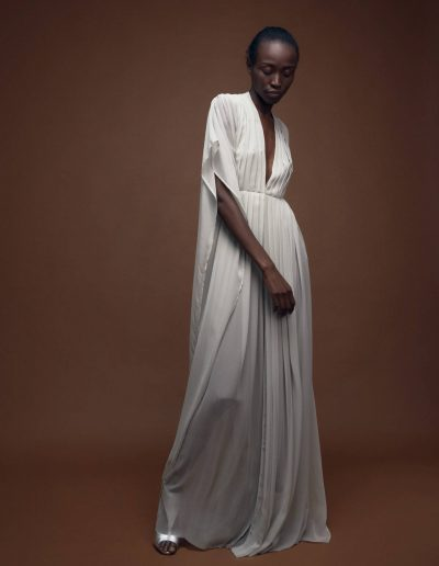 Kaftan Silk Gown Gwen in Light Grey with Pleats by Magdalena Mayrock Berlin