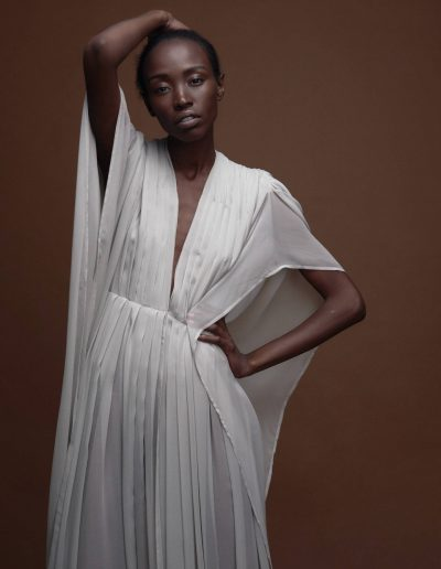 Pleated Silk Gown Kaftan Gwen in Light Grey by Magdalena Mayrock Berlin