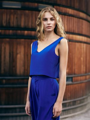 Silk Top Gloria and Marlene Trousers in Royal blue by Magdalena Mayrock Berlin