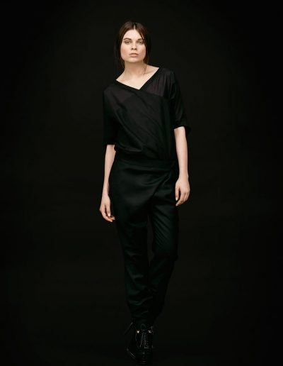Black Designer Cotton Shirt and Asymmetric Trousers by Magdalena Mayrock Berlin