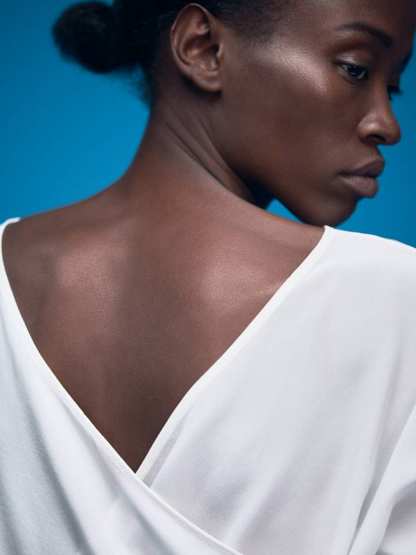 White Designer Bridal Silk Shirt Victoria with V-Neck by Magdalena Mayrock Berlin.